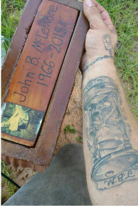 Tyler's tattoo and John's headstone