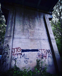 Graffiti beneath the bridge